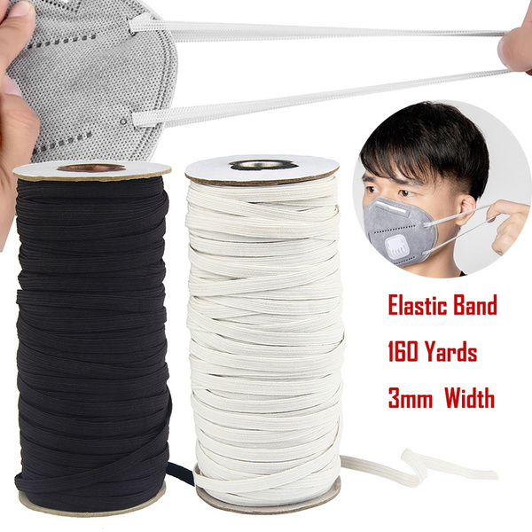 Elastic Cord 6mm roll Braided Elastic 1//4 inch Width 160 Yards Length White 1//4 inch Elastic Bands for Sewing