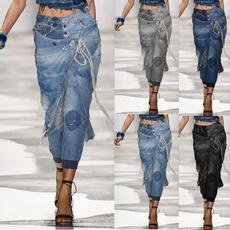 elastic waist, pants, Denim, street style