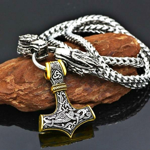 Head, Chain, vikingnecklace, Stainless Steel