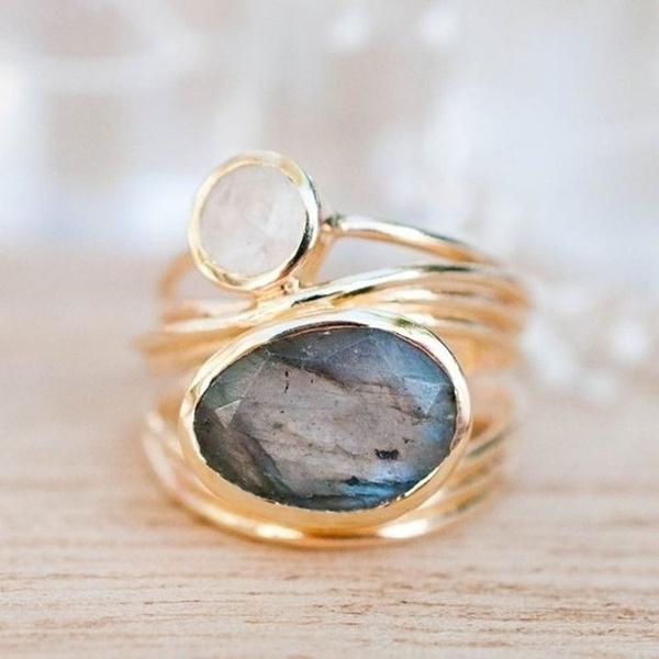Labradorite Moonstone Aqua Blue Shell