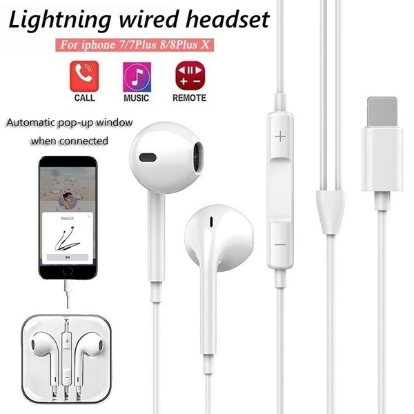 Lightning Headset Wired Sports Bluetooth Earphone With Mic For Iphone 8 7 Plus X Xr Xs Max Wish