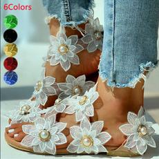 Sandals, Lace, chiffon, Lace+Chiffon