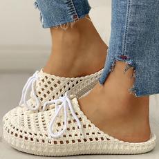 Summer, Sandals, Lace, Flats