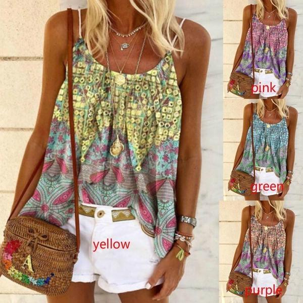 Summer, Vest, Plus Size, Tops