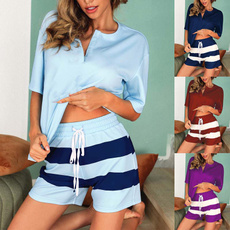 Two-Piece Suits, stripedprint, Sleeve, Shorts