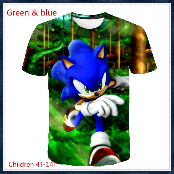 Sonic The Hedgehog T Shirt Printing Cartoon Children S Adult Clothing Summer Fashion Parent Child Short Sleeve Fashion T Shirt Wish