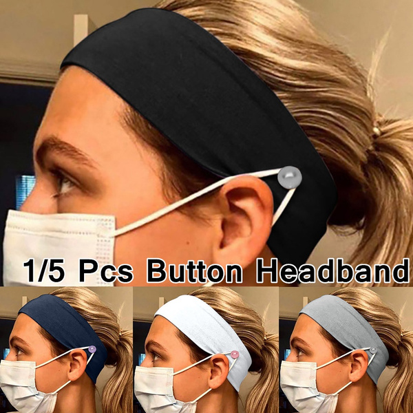 Button Headband For Nurses Women Men Elastic Turban Head Wrap