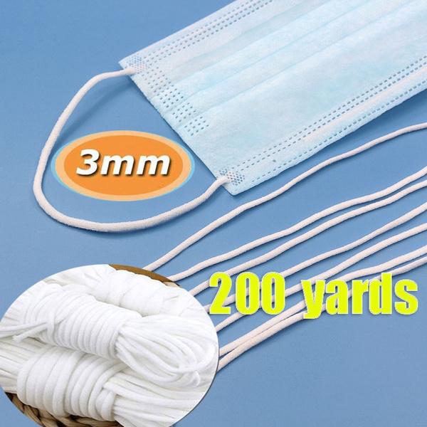 200yards Lot 3mm Face Mask Elastic Band Mask Rope Nylon Round Mask