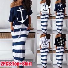long skirt, Two-Piece Suits, 2 piece dress sets, Sleeve