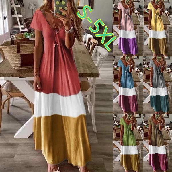 Summer, Fashion, bohemian, short sleeve dress