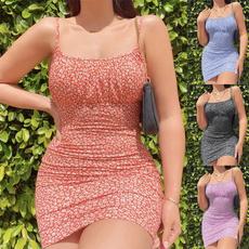 Summer, summer dress, Floral print, Cintura