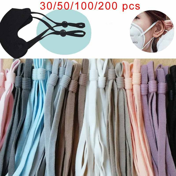 200 Pieces Diy Elastic Cord Adjustable Mask Rope Elastic Buckle