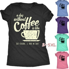 Tops & Tees, Coffee, Fashion, letter print