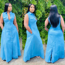 denim dress, Sleeveless dress, Plus Size, Tank