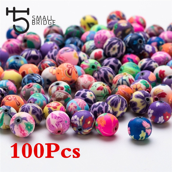 100pcs Colorful Handmade Polymer Clay Beads Smooth Round Loose Beads Spacer 8mm