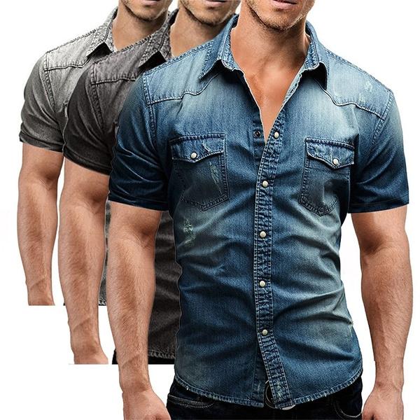 AVANZADA Mens Big /& Tall Fort Short Sleeve Denim Shirt Lightweight Chambray ButtonDark Blue XL
