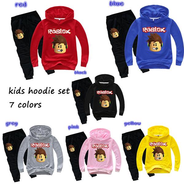 Fashion Roblox Hoodie Set Kids Boys Girls Casual Black Hoodie