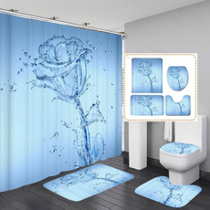 water, Bathroom, Flowers, 3dshowercurtain