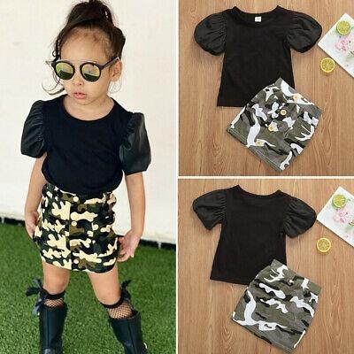 Toddler Kids Baby Girls Summer Short Sleeve Outfits Clothes Skirt Dress Set New