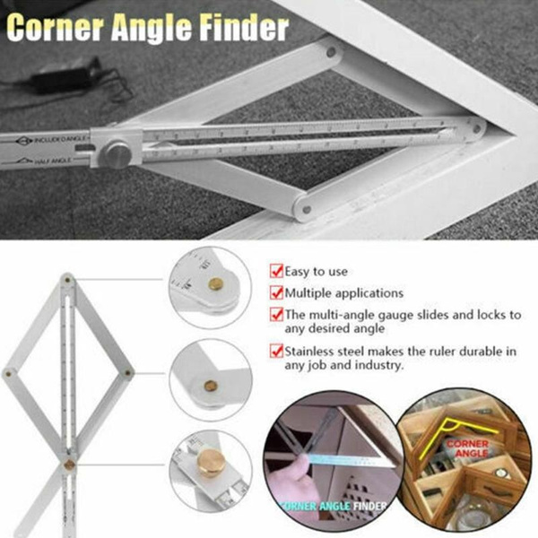 Stainless Steel Corner Angle Finder Ceiling Artifact Tool Square Protractor USA