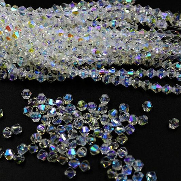 3mm 150pcs Crystal Beads Bicone Loose Spacer Craft Jewelry Makings Sun AB HC
