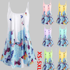 butterflyprint, Summer, sleeveless, Plus Size