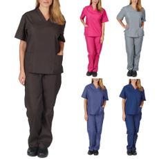 sleeve v-neck, workinguniform, Shorts, womensuitsset