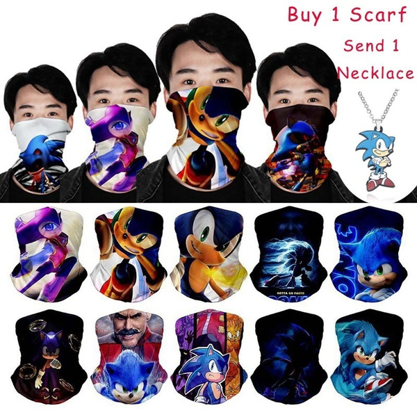 Sonic The Hedgehog 3d Printed Seamless Scarf Neck Gaiter Face Mask Bandana Motorcycle Cycling Outdoor Windproof Head Shield With Necklace Wish