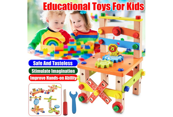 Montessori For Kid Wooden Assembling Chair Toy Child Early Educational Toys  Chair Design Disassembly Tool For Boy and Girl Gifts | Wish