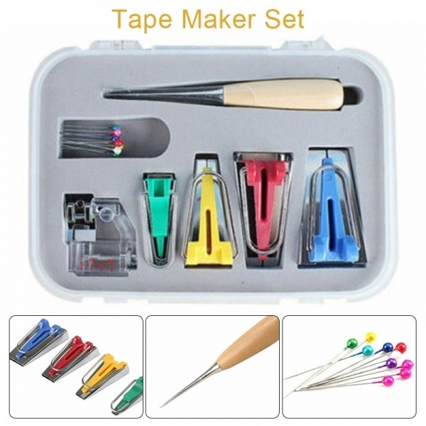 4Pcs 6 12 18 25mm Fabric Bias Tape Maker Binding Tool Quilting Sewing+Awl Kit