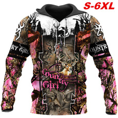 3D hoodies, Plus Size, Colorful, Hunting