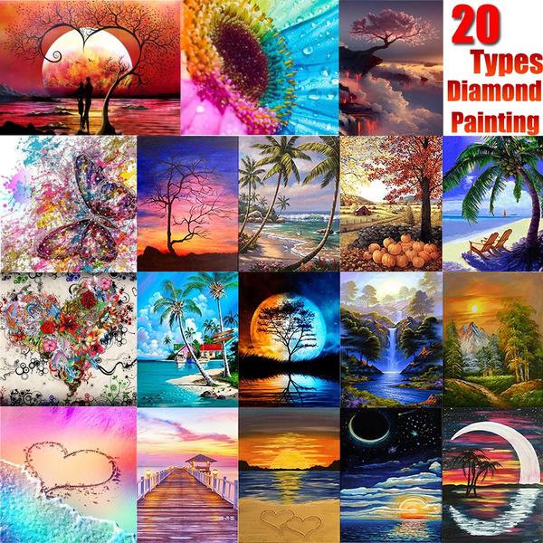 5D DIY Full Drill Round Diamond Painting Scenery Cross Stitch Mosaic Craft Kits