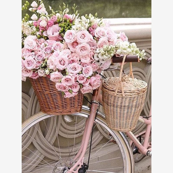 5D DIY Diamond Painting Cross Stitch Flowers And Bicycles Embroidery Art Decor