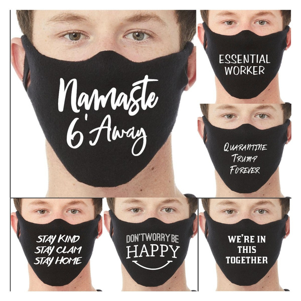 Unisex Letter Print Face Mask Breathable Warm Windproof Anti-Dust ...