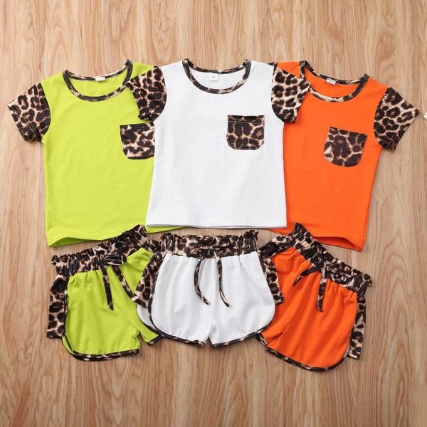 2pcs Toddler Kids Boys Girls Summer Clothes T-shirt Tops+Shorts Pants Outfit Set