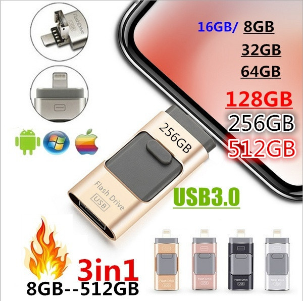 3 in 1 USB 3.0 Flash Drive Memory Stick OTG Pendrive For iPhone PC 512GB 256GB