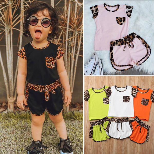 2pcs Kids Toddler Baby Girl Clothes T-shirt Tops+Short Pants Sunsuit Outfits Set