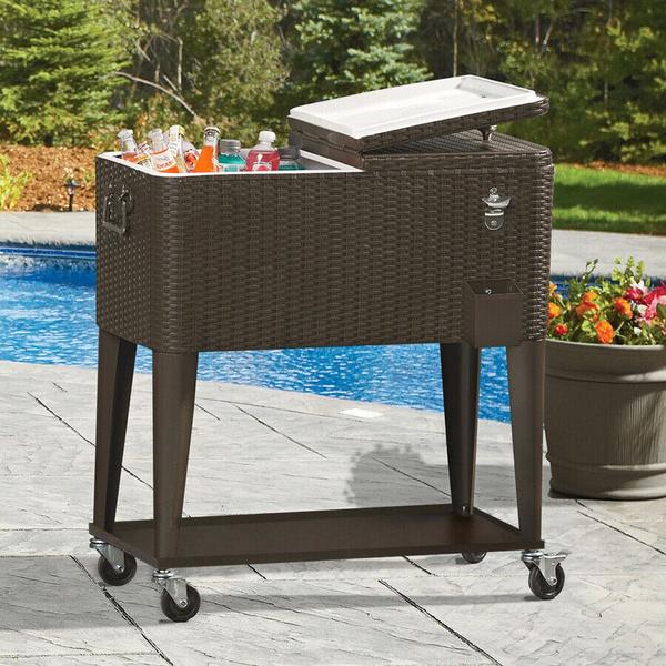 Outdoor Patio Rolling Cooler 80 Qt