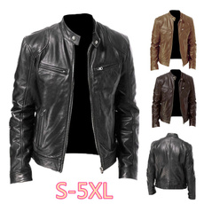 коричневый, bikerjacket, Plus Size, Vintage