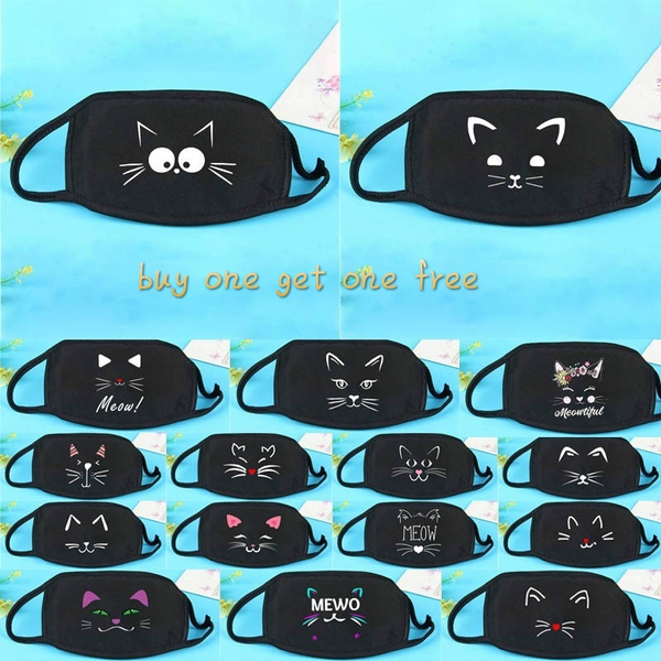 Buy One Get One Free Cute Cartoon Cat Face Printed Mouth Mask Anti