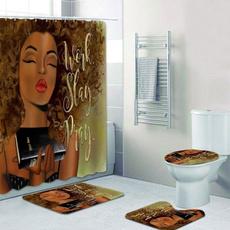 africanamericanshowercurtainset, bathrug, nonslipmat, bathroomrugsset