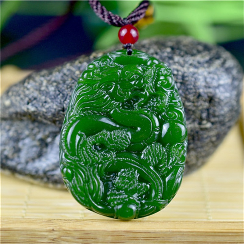 Natural White Afghan Jade Carved Tiger Lucky Pendant Rope Necklace Jewelry