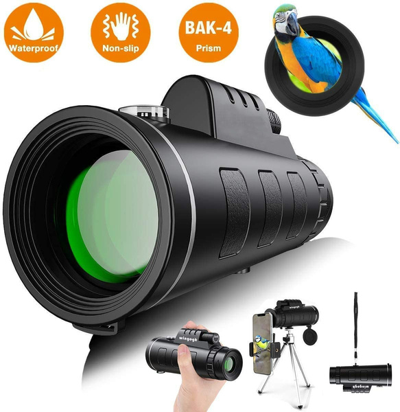 Camping Waterproof Monocular with Durable and Clear FMC BAK4 Prism Dual Focus for Bird Watching Monocular Telescope 40X60 High Power HD Monocular with Smartphone Holder /& Tripod - Hiking Upgrade