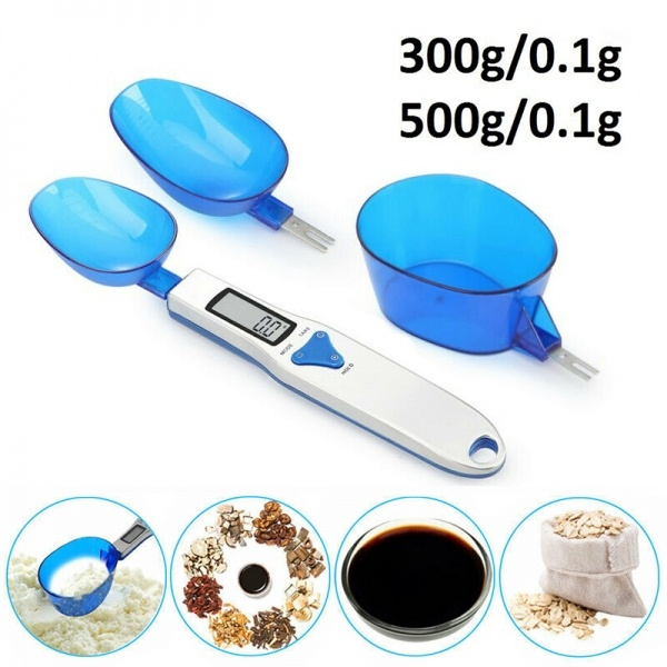 Digital LCD Spoon Scale Kitchen Lab Pet Food Electronic Measure Weight 300g//500g