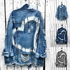jacketforwomen, ripped, heartprint, Coat