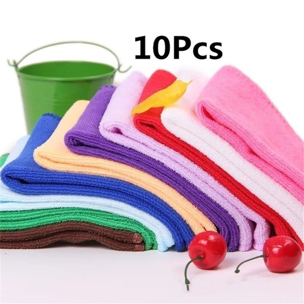 10 Pcs Microfibre Home Kitchen Car Valeting Dusters Polishing Cleaning Cloths