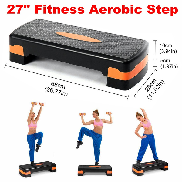 Home Fitness Aerobic Exercise Training 2 Level Adjustable Step Yoga Gym Stepper