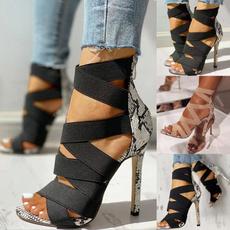 Sandals, heelsandal, Elastic, withlargesize