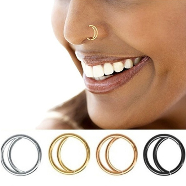 4 Colors Double Nose Ring Boho Nose Jewelry Septum Ring Hoop