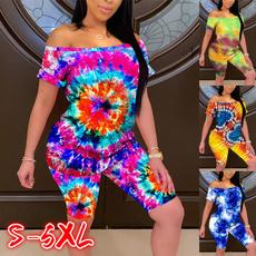 Summer, Plus Size, Shirt, 2pieceset
